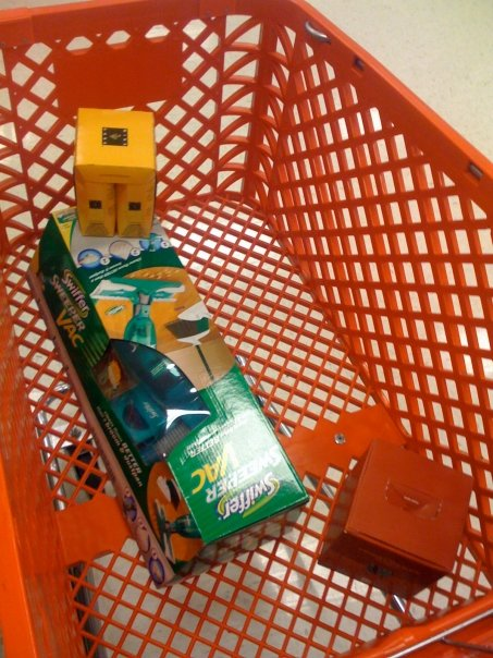 Team Rortybomb's last trip to Target;  Wine cubes and a swiffer vac.  I am a functioning adult, fyi.