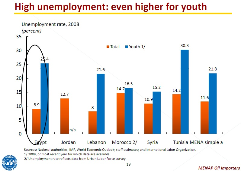 the high rate of youth unemployment in egypt Youth population and employment in the  when the country's unemployment rate stood at 13 percent,  youth unemployment and.